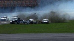 Brad Keselowski gets caught up in a ten car wreck Friday Photo - speedtv.com