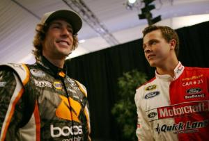 Travis Pastrana (L), driver of the #99 Boost Mobile Toyota, and Trevor Bayne, driver of the #16 Ford. Drive One./Ford Mustang Ford, attend NASCAR Media Day at Daytona International Speedway on February 16, 2012 in Daytona Beach, FL.Photo - Tom Pennington/Getty Images
