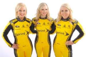 Brooke Werner (L) joins Current Miss Sprint Cup Kim Coon (C) and Jaclyn Roney (R)Photo - Sprint