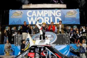 James Buescher celebrates in victory lanePhoto - Getty Images